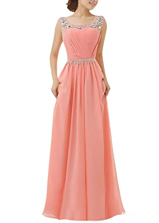 Amazon.com: Z&L Women\'s Long Chiffon Beaded Evening Gown Bridesmaid ...