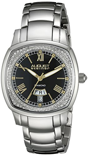 August Steiner Women's AS8193SSB Silver Swiss Quartz Watch with Black Dial and Silver Bracelet