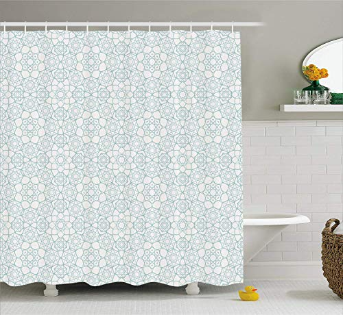 Moroccan Shower Curtain Asian Culture Inspired Ancient Elements Arabic Geometric Design Eastern Stars Cloth Fabric Bathroom Decor Set with Hooks Extra Long Seafoam White 84