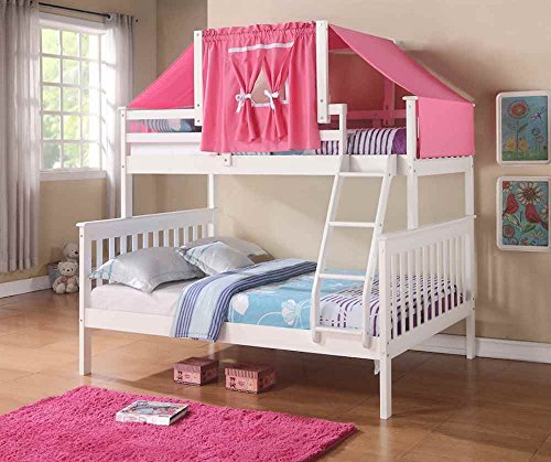Twin Over Full Mission Bunk Bed with Tent Kit in White and P
