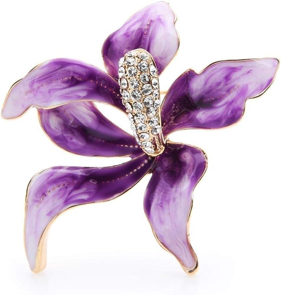kliy Broche Broches De Flores De Orquídeas De Esmalte Púrpura Grande Aleación De Mujer Rhinestone Checo Bodas De Flores Broche Alfileres Regalos