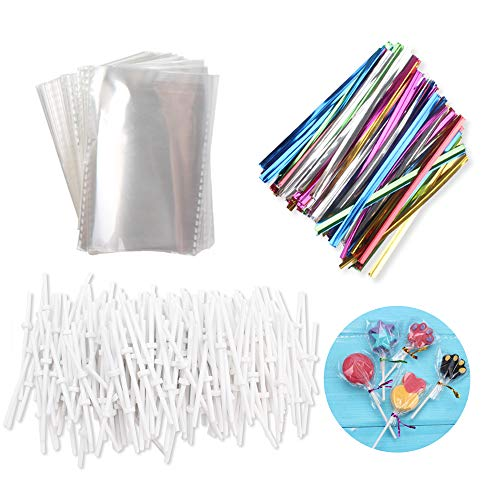 200 Pcs 2.36X3.54-Inch Opp Bags with 200 Pcs 3.15-Inch Twist Ties Mix Colors 200 Pcs 3.15-Inch Plastic Stick for Lollipop Candy Cake Pop Chocolate Cookie DIY Homemade Fruit Candy