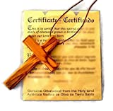 Large Christian Cross Olive Wood Pendant HJW, brown