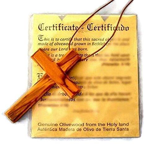 (HJW Large Christian Cross Olive Wood Pendant (Genuine)