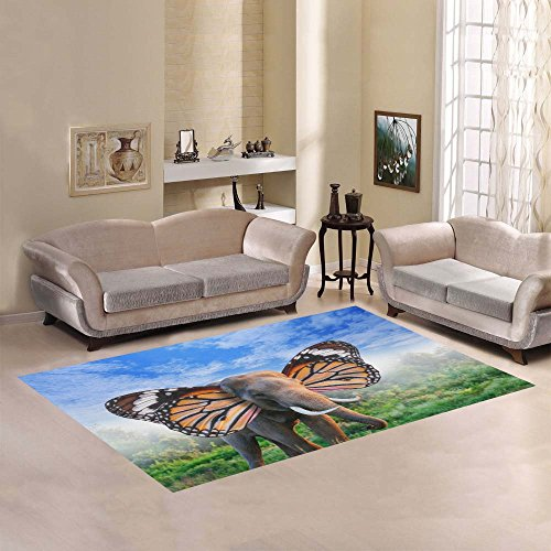 Love Nature Sweet Home Modern Collection Custom elephant with butterfly Area Rug 5'3''x4' Indoor Soft Carpet