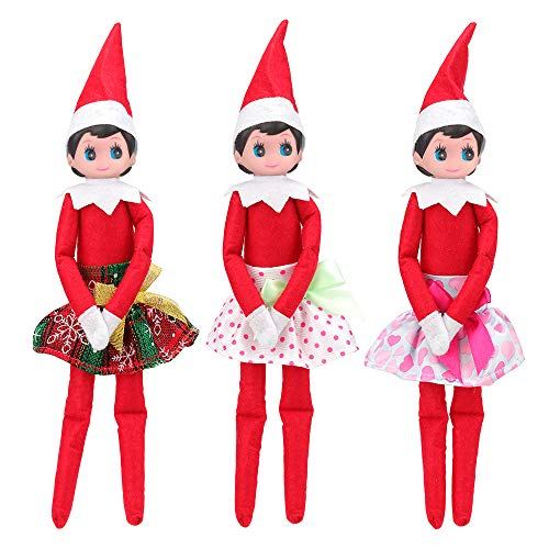 Mylass 3 Pcs Skirts Set EU CE-EN71 Certified Include Christmas Clothes Party Grown Outfits for Elf on The Shelf -