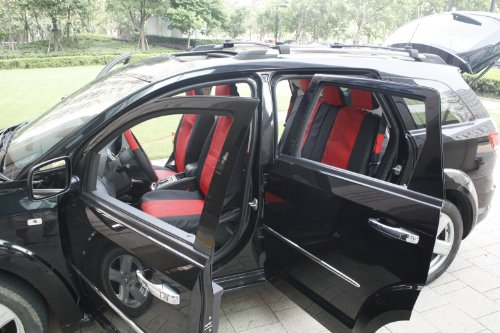 OxGord 17pc Leatherette Seat Cover Set, Airbag Compatible, for SATURN ION 1, Red & Black