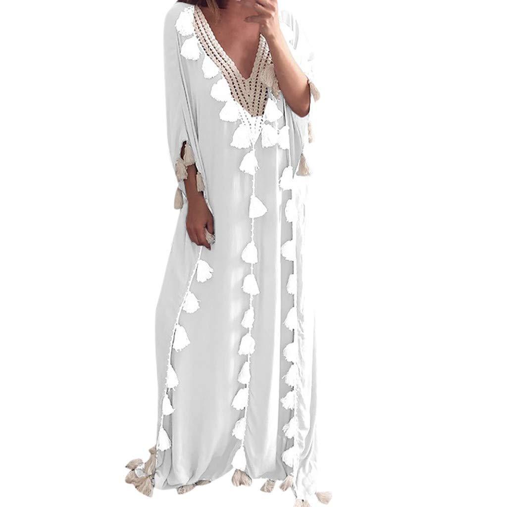 Dream Room Damen Kleider Boho Sommerkleid V-Ausschnitt Maxikleid Kurzarm Strandkleid Lang Kleider Bikini Tunika Cover Up Quaste Sommer Kleid S-XXL