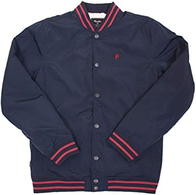 b112bd141 Primitive Apparel Sherpa Varsity Midnight Red Logo Striped Men's Jacket  (Medium)