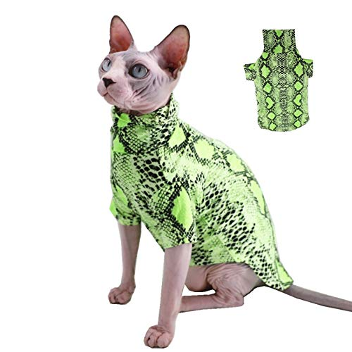 Limited Edition Cool Sphynx Hairless Cat Summer Snake Skin Pattern Cotton T-Shirts Pet Clothes, Round Collar Vest Kitten…