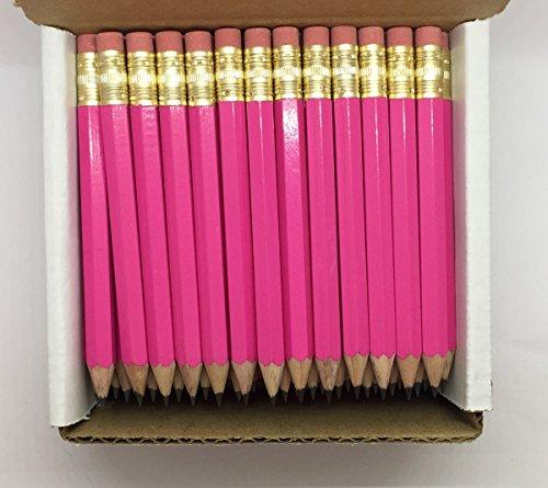 Half Pencils with Eraser - Golf, Classroom, Pew, Short, Mini - Hexagon, Sharpened, Non Toxic, #2 Pencil, Color - Deep Pink, (Box of 48) Golf Pocket Pencils (Hex Golf Pencils)