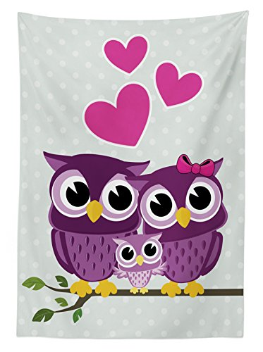 Owls Home Decor Tablecloth by Ambesonne, Cute Owls Couple with Baby Owl Sitting on a Branch Family Portrait Cartoon Art, Dining Room Kitchen Rectangular Table Cover, 60 X 84 Inches