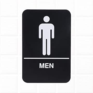 Amazon Com Men Restroom Sign With Braille Black And White 9 X 6 Inches Ada Compliant Men Bathroom Sign For Door Wall By Tezzorio Office Products