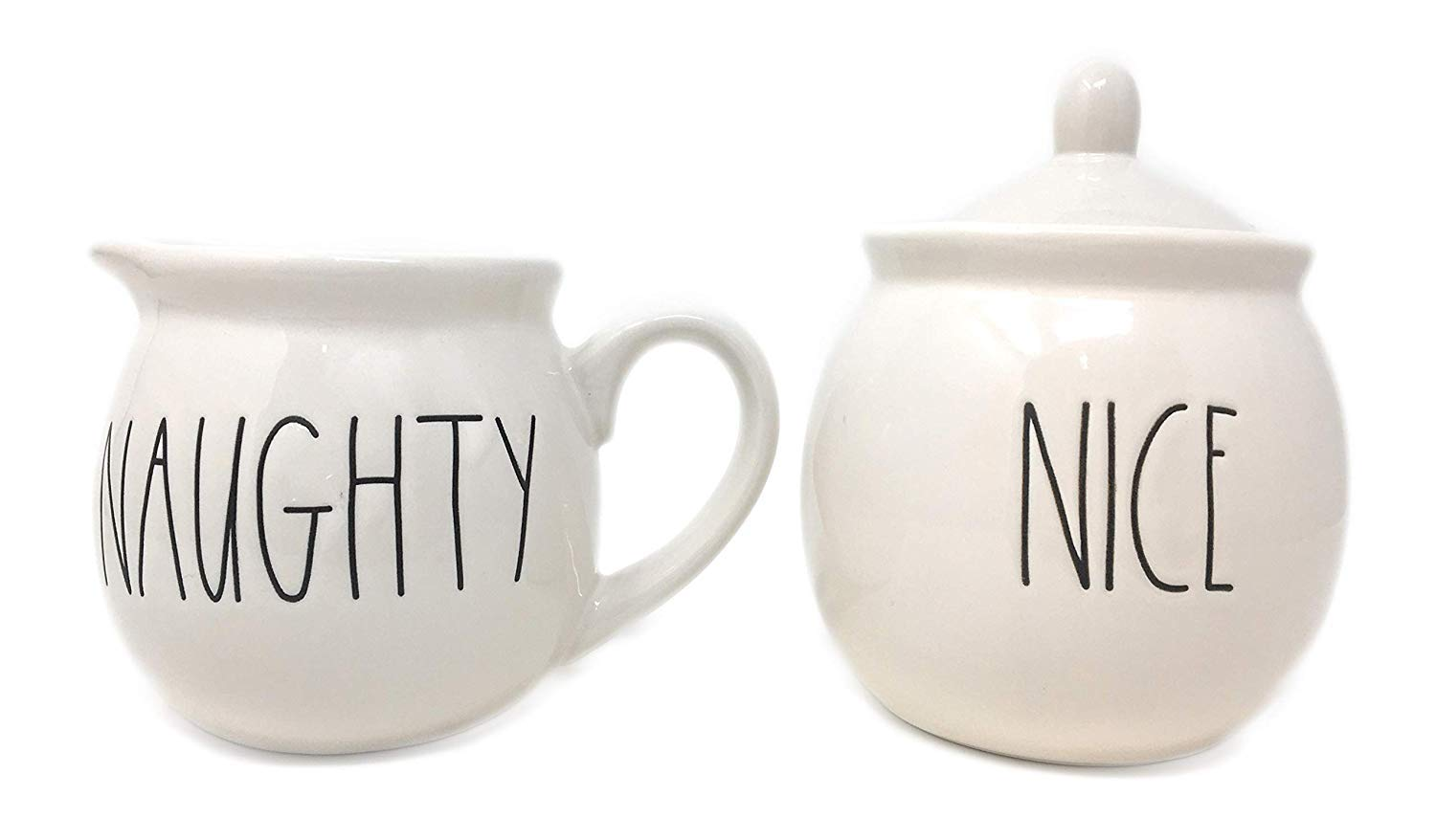 Rae Dunn NAUGHTY and NICE in large letters 2 piece Cream and Sugar Christmas Set.
