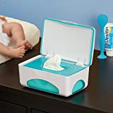 hiccapop Diaper Wipes Dispenser Baby Wipes Case | Baby Wipe Holder Keeps Wipes Fresh | Non-Slip, Easy Open & Close Wipe Container (Tahitian Blue)