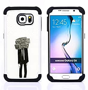 GIFT CHOICE / Defensor Cubierta de protección completa Flexible TPU Silicona + Duro PC Estuche protector Cáscara Funda Caso / Combo Case for Samsung Galaxy S6 SM-G920 // Deep Meaning Mask Depression Suit //