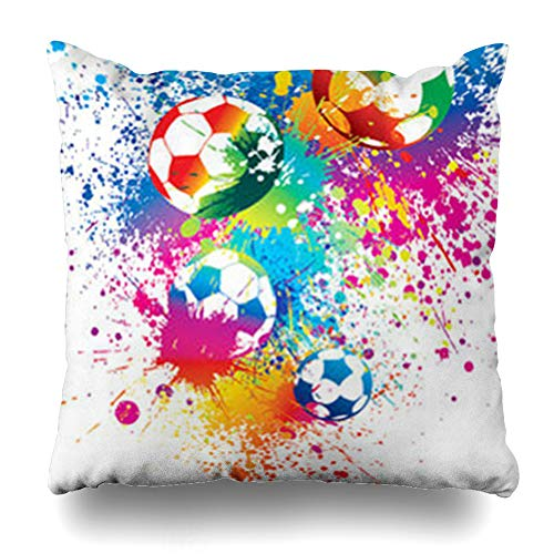 Throw Training Pillow (Alfredon Throw Pillow Covers Ball Footballs On White Soccer Recreation Sports Stadium Rainbow Training Kit Pillowcase Square Size 20 x 20 Inches Home Decor Cushion Cases)