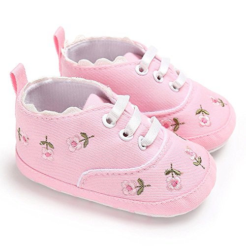 Flat Shoes for Baby Boy,Newborn Infant Baby Girls Floral Crib Shoes Soft Sole Anti-Slip Sneakers Canvas,Baby Boys' Slippers, Pink,0-6M (Crib Up Lace Converse Shoes)