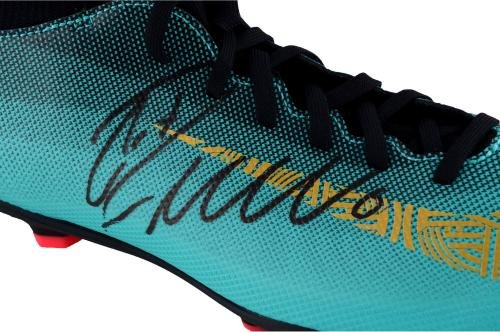 Cristiano Ronaldo Juventus F.C. Autographed Teal and Gold CR7 Mercurial Nike Cleat Fanatics Authentic Certified