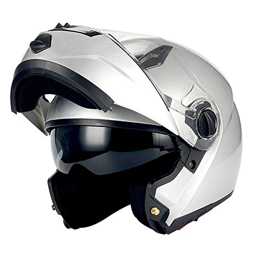 (1Storm Commander Motorcycle Modular Full Face Helmet Flip up Dual Visor/Sun Shield; Glossy Silver)