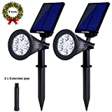 #6: Solar Spotlights Outdoor, Upgraded Vandeng 2-in-1 Waterproof Solar Powered Security Lights 6 LED Motion Sensor Landscape Lights Auto On/Off for Garden Yard Lawn Patio Driveway Pathway Pool(2 Pack)