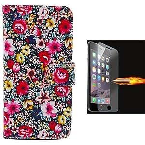 MOFY- una variedad de dise–o de la flor de la PU cuero caso de cuerpo completo con pel'cula de vidrio a prueba de explosi—n para el iphone 6 m‡s