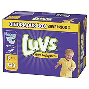 Diapers Size 5, 148 Count – Luvs Ultra Leakguards Disposable Baby Diapers, ONE MONTH SUPPLY (Packaging May Vary)