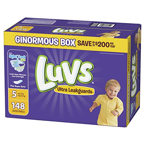Luvs Ultra Leakguards Disposable Baby Diapers, Size 5, 148Count, ONE MONTH SUPPLY (Packaging May Vary) ()