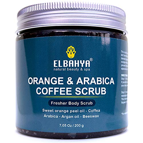 - Organic Sweet Orange and Arabica Coffee Body Scrub, Anti Cellulite and Stretch Mark Treatment, Ultra Hydrating and Moisturizing with Sweet Orange Peel Oil, Coffea Arabica, Argan oil and Beeswax