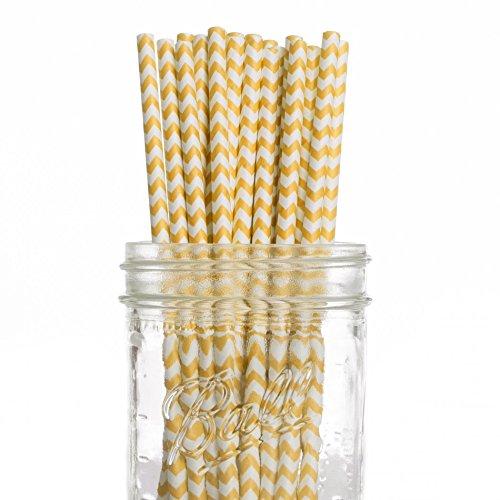 Dress My Cupcake 25-Pack Vintage Paper Straws, Yellow Chevron