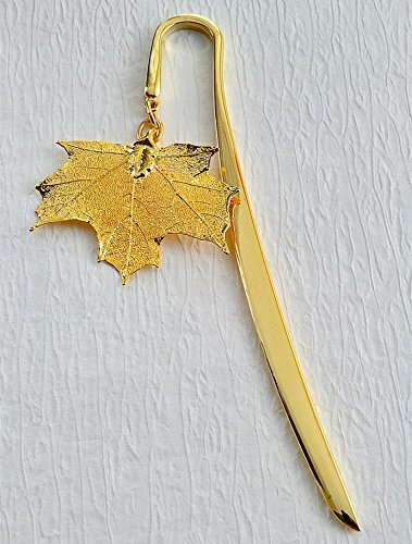 Polished Gold Bookmark with Gold Sugar Maple Leaf