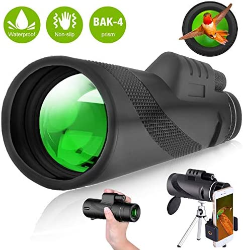 Vekuie Monocular Starscope Telescope,12X50 High Definition BAK4 Prism & FMC HD Monocular with Smartphone Holder & Tripod,IPX7 Waterproof for Bird Watching, Camping,Wildlife Scenery