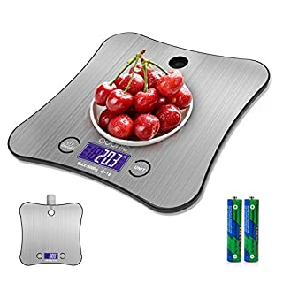 Hangable Digital Kitchen Scale Food Scale, 11 lb/5kg Tare Function Automatic Shutdown Stainless Steel Silver Batteries Included