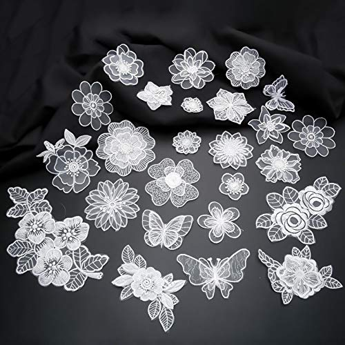 (Iron Or Sew On Lace Embroidered Patches White Transparent Organza Flower Butterfly Appliques for Clothing Stripes On Clothes DIY)