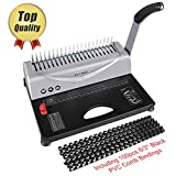 YoWin Binding Machine, 450 Sheet 21 Hole Comb Binding Machine with Starter Kit 100 PCS 3/8'' Comb Binding Spines, Comb Binding Machine Perfect for Office Documents