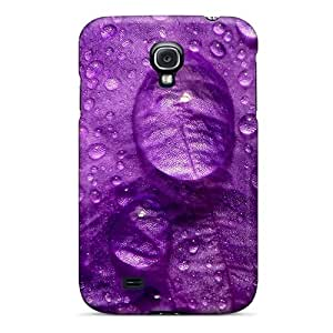 Slim Fit Tpu Protector Shock Absorbent Bumper Purple Flower Close Up Case For Galaxy S4