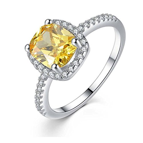 TEMEGO Cushion Halo Ring - 14k Gold Canary Yellow CZ Solitaire Engagement Ring,Size 6 -