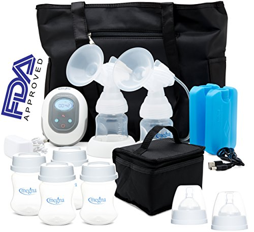 Megna Double Electric Breast Pump: Portable Dual Digital Breast Feeding Pump w/ Easy To Read LCD Display