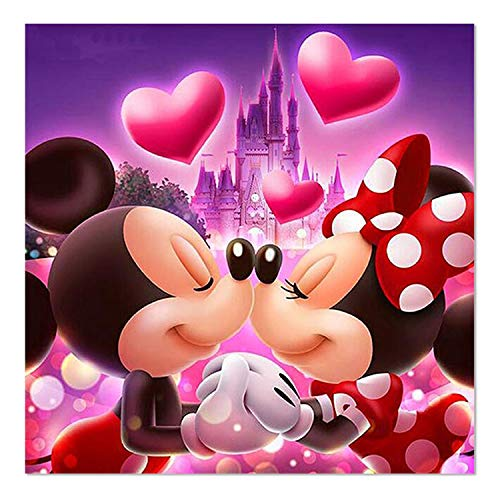 SuperDecor 5D Diamond Painting for Adults Full Drill Cute Mice Kiss Love Pattern Diamond Embroidery Paintings Art DIY by Number Kits Home Wall Decor 12x12 Inch