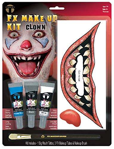 Adults Teens Character Twisted Clown Laughing Tattoo Transfers Face Paint Halloween Horror Accessory Make Up Kit With Brush (Twisted Clown)