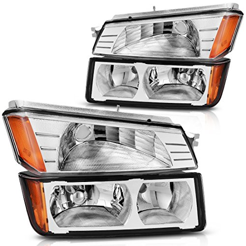 For 2002 2003 2004 2005 2006 Chevy Chevrolet Avalanche Headlight Assembly Headlamp with Signal Lights, Chrome Housing Amber Refletor,One-Year Warranty (BODY CLADDING, Driver and Passenger (Chevy Headlamp)