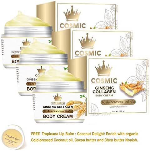 3 UNITS OF COSMIC GINSENG COLLAGEN BODY CREAM BY COSMIC BRIGHTENING WHITENING AURA SKIN[GET FREE TOMATO FACIAL MASK]