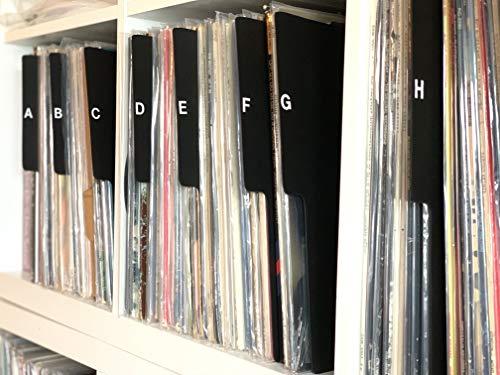 "A to Z Record Dividers Vertical Tab Professional Black Index 12"" 33 LPs Vinyl Album Organizers/Organization A-Z Alphabet Alphabetize Alphabetical Cards"