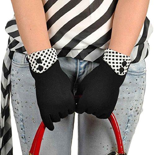 Binmer ( TM )レディースタッチスクリーン冬暖かいエレガントな手首手袋ミトン(ブラック)