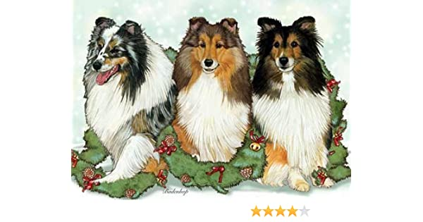 SHELTIE SHETLAND SHEEPDOG PACK OF 4 CARDS DOG PRINT GREETING CHRISTMAS CARDS