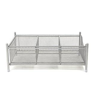 Mind Reader 3 Compartment Metal Mesh Storage Baskets Organizer, Home, Office, Kitchen, Bathroom, Silver