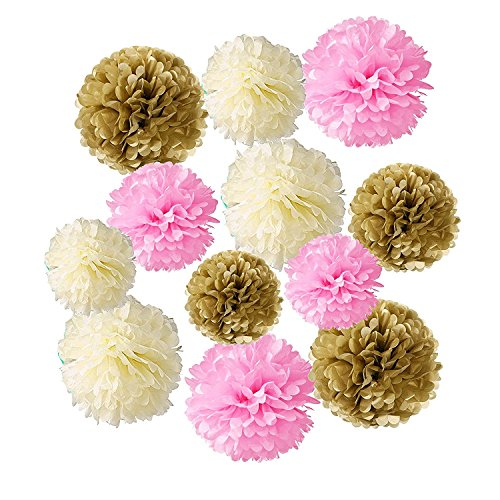 Wartoon Tissue Paper Pom Poms Flowers for Wedding Birthday Party Baby Shower Decoration 12 pieces - Pink, Ivory White and Gold ()