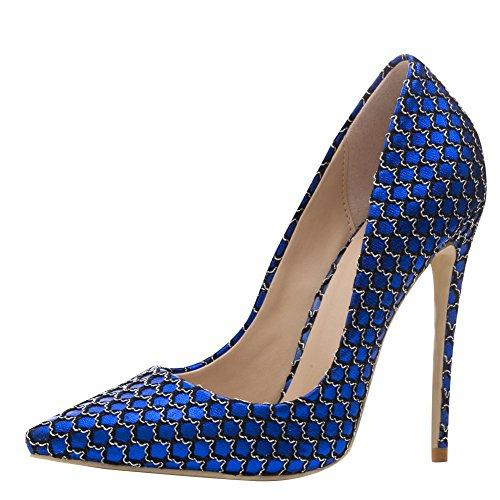 Ciondolo Scarpe Da Donna Sexy Scarpe A Punta Tacco Alto Scarpe Blu