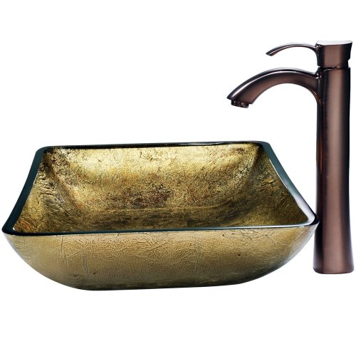 VIGO Rectangular Copper Glass Vessel Bathroom Sink and Otis Vessel Faucet with Pop Up, Oil Rubbed Bronze Rectangular Vessel Lavatory Sink