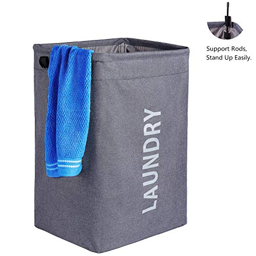 Weeare Large Double Laundry Hamper(80L) wtih Mesh Laundry Bags | Foldable Laundry Basket with Handle| Standable Clothes Hamper for Washing Storage(Dark Grey)